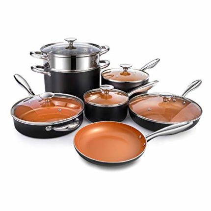 MICHELANGELO Copper Cookware Set 12 Piece with Nonstick Ceramic Coating, Copper Pots and Pans Sets I...