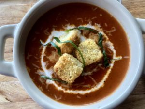 Roasted red pepper and tomato basil soup.