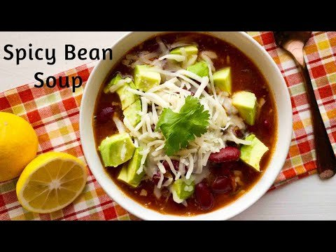 Spicy Bean Mexican Soup with avocado