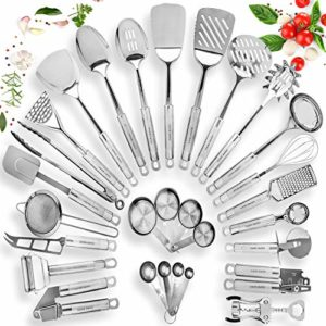 Stainless Steel Kitchen Utensil Set – 29 Cooking Utensils – Nonstick Kitchen Utensils Cookware Set with Spatula – Best Kitchen Gadgets Kitchen Tool Set Gift by HomeHero