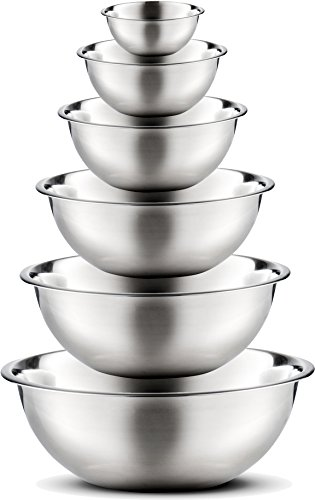 Stainless Steel Mixing Bowls by Finedine (Set of 6) Polished Mirror Finish Nesting Bowl, ¾ – 1.5-3 – 4-5 – 8 Quart – Cooking Supplies