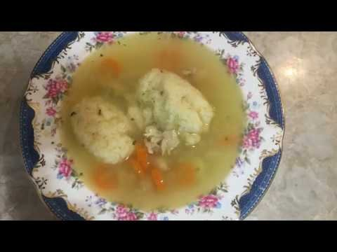 Homemade chicken soup with dumplings