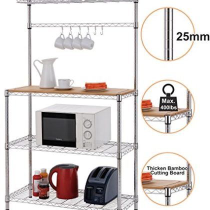 Finnhomy 14x36x61 4-Tiers Adjustable Kitchen Bakers Rack Kitchen Cart Microwave Stand with Chrome Shelves…
