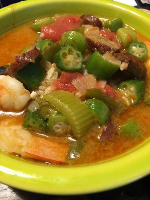 Homemade andouille and shrimp gumbo for Mardi Gras soup