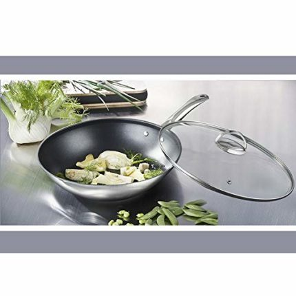 Mr. Rudolf Nonstick 18/10 Stainless Steel 12-inch Wok Stir-Fry Pan with Glass Lid Dishwasher Safe PF...