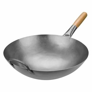 Timoney Carbon Steel Pow Wok Traditional Hand Hammered Stir-Fry Pan with Helper Wooden Handle (14 In…