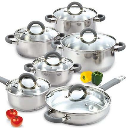 Cook N Home 02410 Stainless Steel 12-Piece Cookware Set Silver