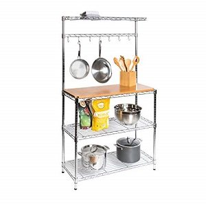 Seville Classics Baker's Rack for Kitchens, Solid Wood Top, 14″ x 36″ x 63″ H