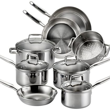 T-fal Stainless Steel Cookware, Multi-Clad, Dishwasher Safe and Oven Safe Cookware Set, Tri-Ply Bond…