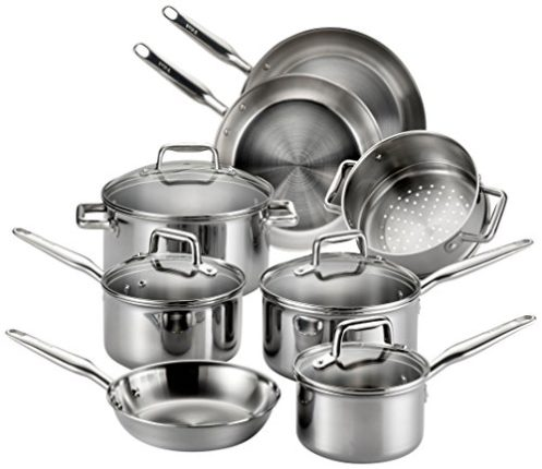 T-fal Stainless Steel Cookware, Multi-Clad, Dishwasher Safe and Oven Safe Cookware Set, Tri-Ply Bond...
