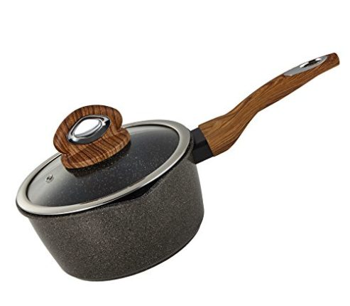 Yzakka 1qt Saucepan Stone Earth Nonstick Induction Saucepan Specialty Small Saucepan Cookware Handy Sauce Pans Food Boiler with Glass Lid