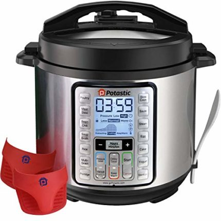 Potastic 6Qt 10-in-1 Programmable Electric Pressure, LCD Display,Instant Cooking with Stainless Stee...