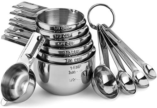 Hudson Essentials Stainless Steel Measuring Cups and Spoons Set - Stackable Set with Spout (11 Piece...