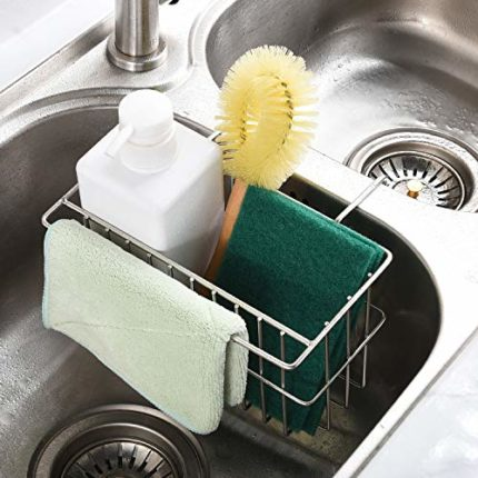 Kitchen Sponge Holder,Dish Brush Holder, Slim Sink Organization/Draining Basket/Liquid Drainer/Water...