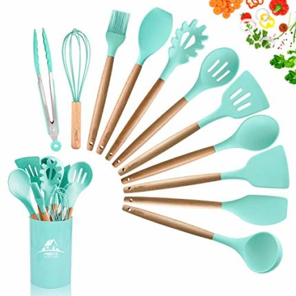 MIBOTE 12 Pcs Silicone Cooking Kitchen Utensils Set with Holder, Wooden Handles Cooking Tool BPA Fre...