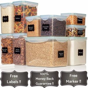 TALL WIDE DEEP Food Storage Containers - Sugar, Flour Plastic Containers 20 pc (set of 10) - 18 FREE...