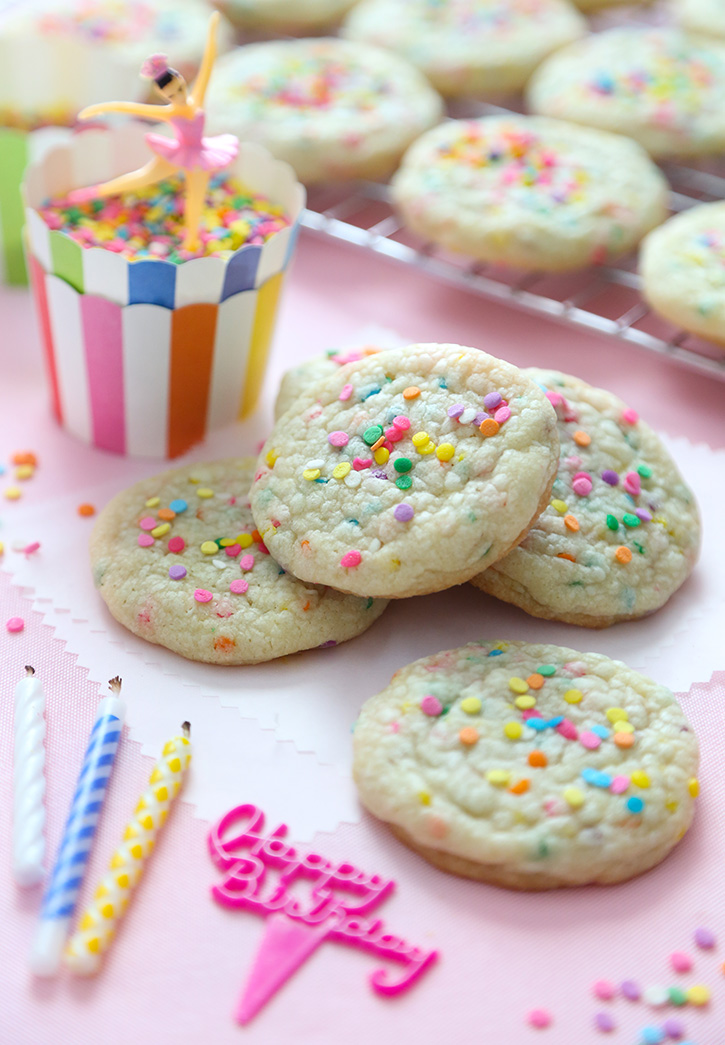 Birthday Cake Sugar Cookies with Sprinkles
