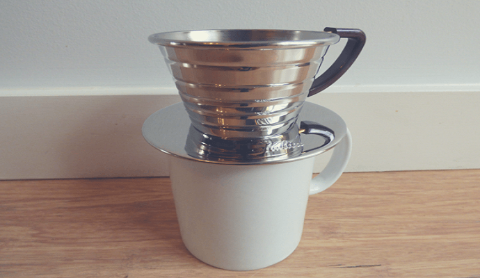 Kalita Wave brewing on a cup