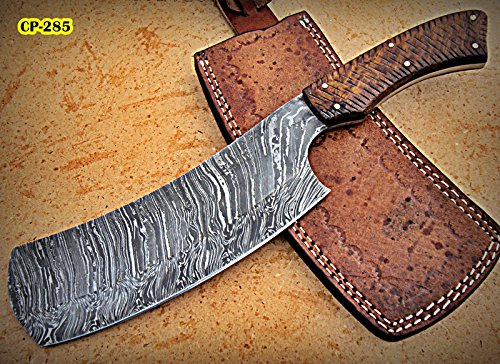 RK- CP-285, Damascus Steel 12.00 Inches Cleaver style Knife - Solid Rose Wood Handle