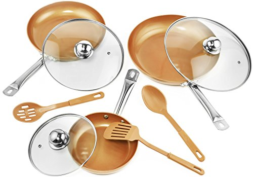 9 Pc Set Copper Frying Pan with Lids and Spoons -Non Stick Chef Pan 8,10 & 12'' - Heavy Duty Tempere...