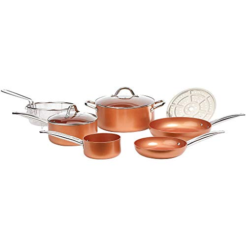 Copper Chef Cookware 9-Pc. Round Pan Set -Aluminum & Steel With Ceramic Non Stick Coating. Includes ...