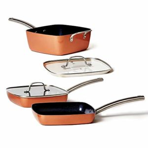 Copper Chef Stack-able Black Diamond 5-piece Non-Stick Fry Pan Set, 9.5 Inch grill pan, 9.5 Inch gri...