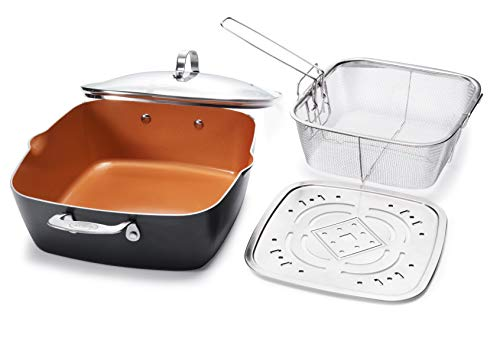 "Gotham Steel 1492 1492-XL 11"" Copper Deep Square All in One 6 Qt Casserole Chef's Pan-4 Piece Set, 1..."