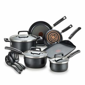 T-fal C530SC Signature Nonstick Dishwasher Safe Cookware Set, Nonstick Pots and Pans Set, Thermo-Spo...