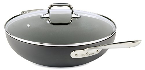 All-Clad E7859464 HA1 Hard Anodized Nonstick Dishwasher Safe PFOA Free Chefs Pan/Wok Cookware, 12-In...