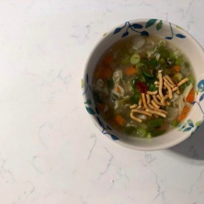 Homemade egg drop soup with vegetables