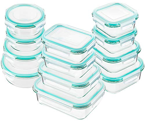 Bayco Glass Food Storage Containers with Lids, [24 Piece] Glass Meal Prep Containers, Airtight Glass...