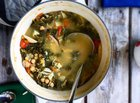 chickpea, kale and clam soup