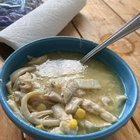 Chicken noodle soup with corn and homemade gluten free noodles