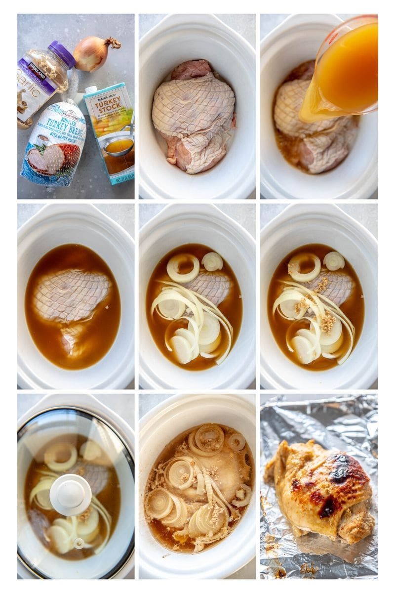 step by step photo collage making slow cooker turkey breast